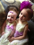 Anabel and Amira, all ready for Sunday church!