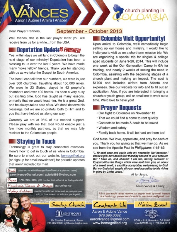 Click for a printable PDF version of our prayer letter.
