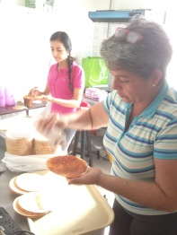 """Preparing a traditional dessert from Colombia, """"Obleas"""" for our weekly outreach ministry."""