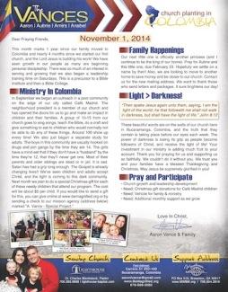 November 2014 Prayer Letter