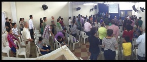 Worshiping together as the Body of Christ.