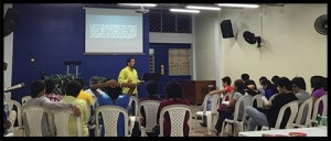 Oscar, one of our men training for ministry, preaching in our weekly Friday youth meeting.