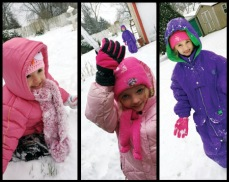 Aris, Anabel & Amira enjoying the Ohio snow